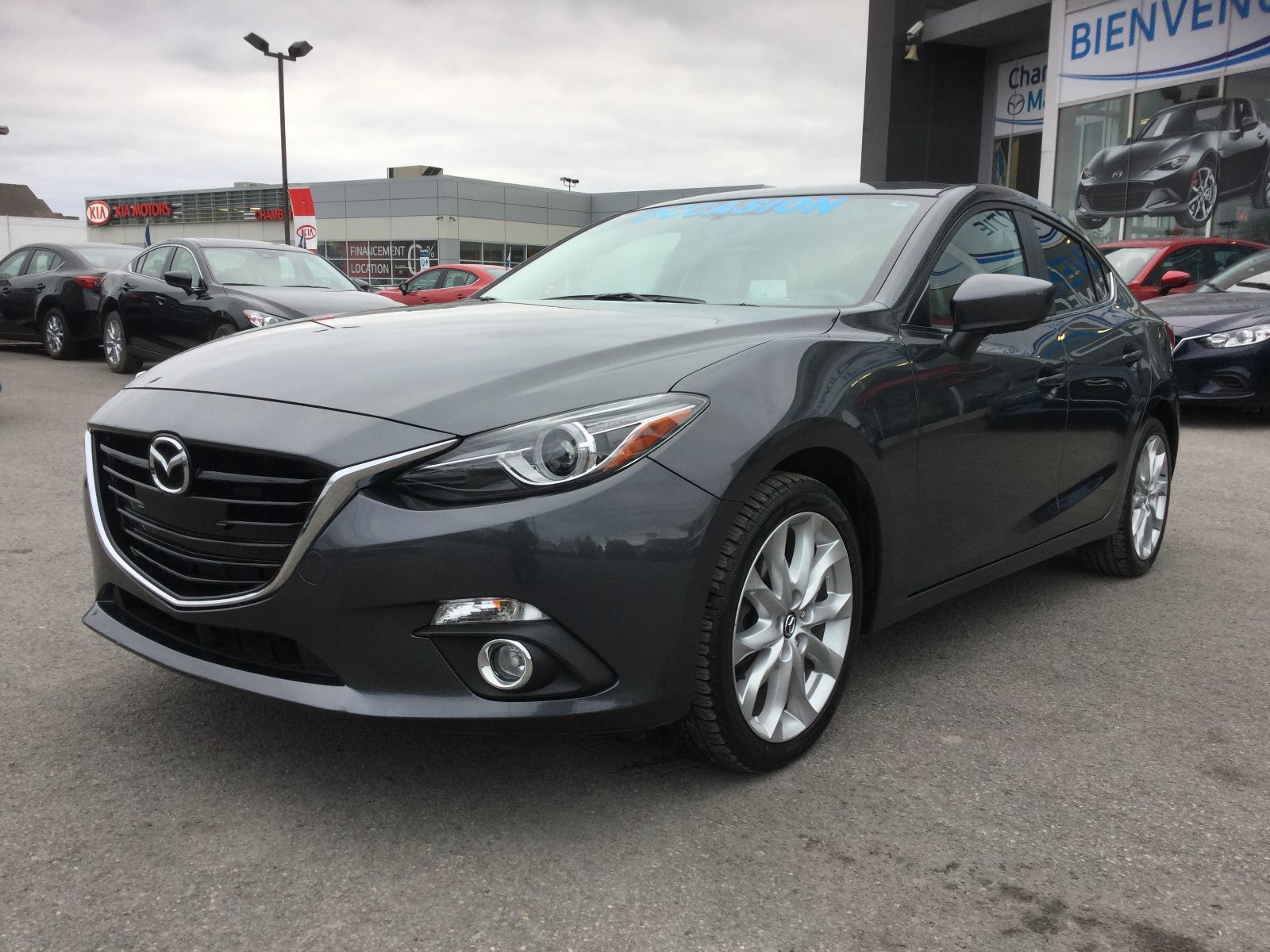Mazda Mazda3 GT-SKY, CUIR, NAVIGATION, TOIT, A/C BIZONE, MAGS 2014 JAMAIS ACCIDENTÉ