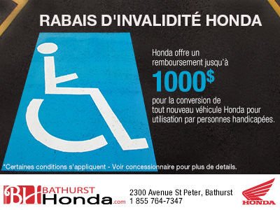 Rabais d'invalidité Honda
