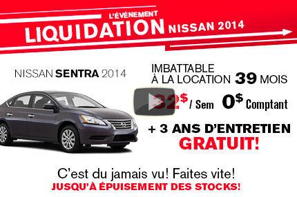 La Nissan Sentra 2014 en location à 32$ par semaine