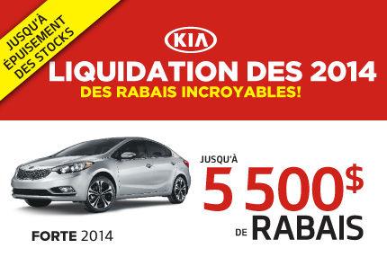 Jusqu'à 5500$ de rabais sur la Kia Forte 2014