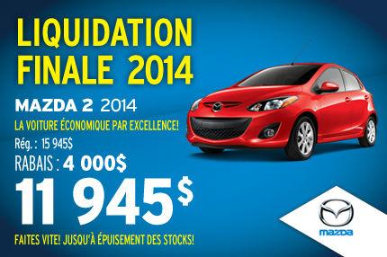 Liquidation de la Mazda 2 2014 à seulement 11 945$