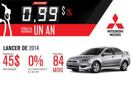 Mitsubishi Lancer 2014 à partir de seulement 45$ par semaine!