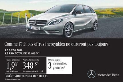 La Mercedes-Benz B250 2014 à compter de seulement 348$ par mois