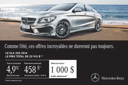 Mercedes Benz CLA 2014 à compter de 458$ par mois