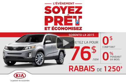 Kia Sorento 2015 à seulement 76$ par semaine à l'achat