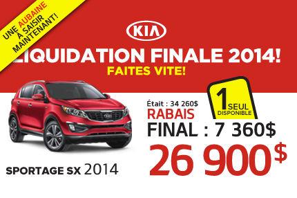 Liquidation de Kia:  Sportage SX 2014 à 26 900$