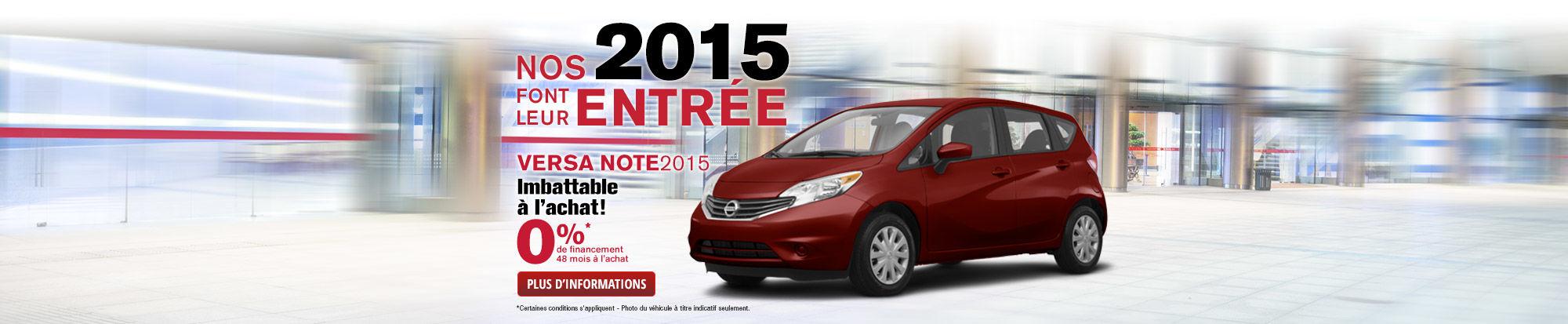 La Nissan Versa Note 2015 à 0%