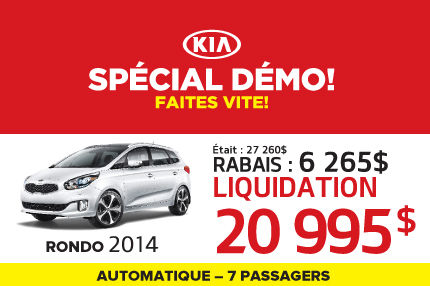 Liquidation de Kia: Rondo 2014 à 20 995$