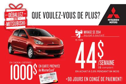 Mitsubishi Mirage 2014: à seulement 44$ par semaine