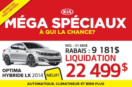 Méga Spéciaux de Kia: Optima Hybride  LX 2014 à 22 499$