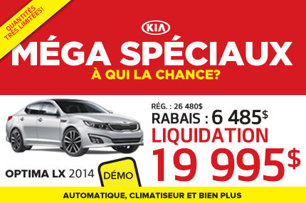 Méga Spéciaux de Kia: Optima LX 2014 à 19 995$