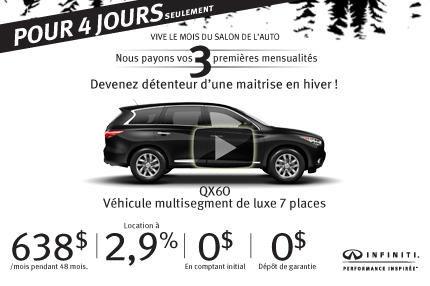 Grande vente 4 jours: Infiniti QX60 AWD 2015 à vous pour 638$ par mois