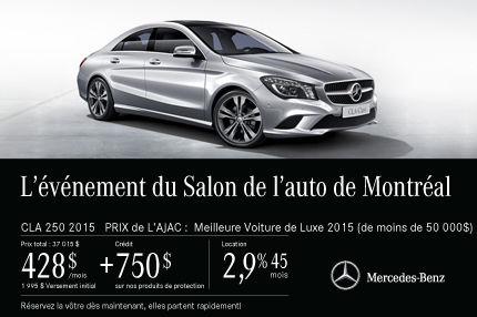 Classe CLA 250 2015 de Mercedes-Benz: paiements mensuels de 428$