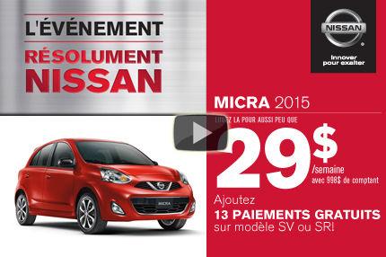 Nissan Micra 2015 à compter de 29$ par semaine