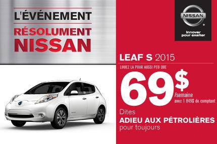 Nissan Leaf 2015: à vous à compter de 69$ par semaine