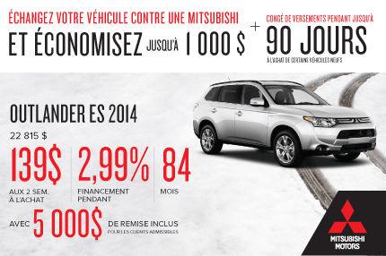 Mitsubishi Outlander 2014: achetez à 139$ aux 2 semaines