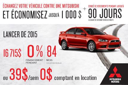 Mitsubishi Lancer 2015 à partir de seulement 16 715$