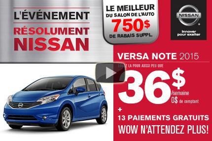 Nissan Versa Note 2015 en location à 36$ par semaine. Rabais supplémentaire salon de l'auto