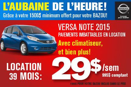 Nissan Versa Note 2015 en location à 29$ par semaine