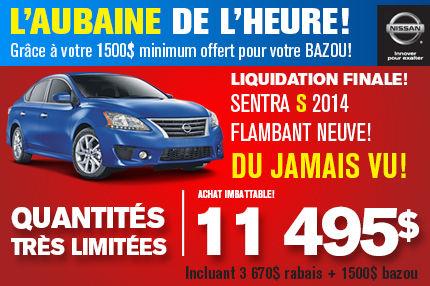 Nissan Sentra 2014: disponible à partir de 11 495$