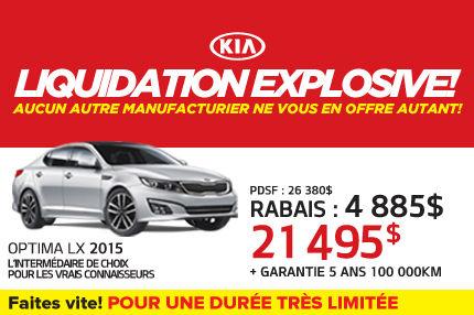 La Kia Optima LX 2015 à seulement 21 495$