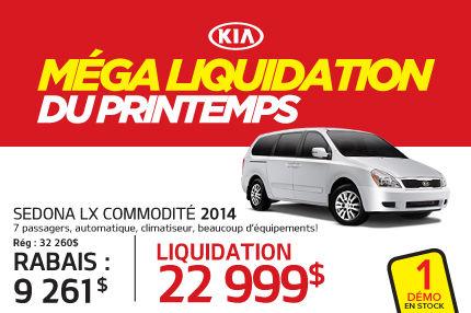 Liquidation Kia Sedona 2015 à 22 999$