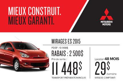 Mitsubishi Mirage 2015 à compter de 11 448$