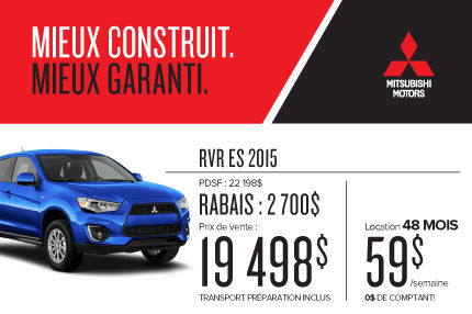 Mitsubishi RVR 2015 à compter de 19 498$