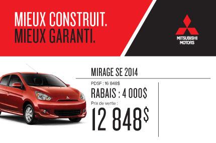 Mitsubishi Mirage 2014 à compter de 12 848$