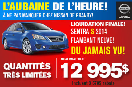 Nissan Sentra 2014: disponible à partir de 12 495$