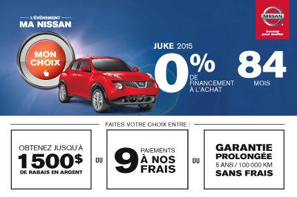 Nissan Juke 2015 à 0% de financement à l'achat