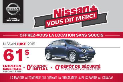 Nissan Juke 2015 à compter de 61$ par semaine