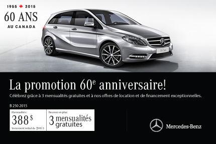 La Mercedes-Benz B250 2015 à vous pour 388$ par mois