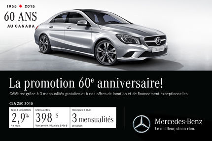 Classe CLA 250 2015 de Mercedes-Benz: paiements mensuels de 398$