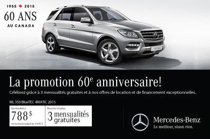 La Mercedes-Benz ML 350 2015 à partir de 788$ par mois
