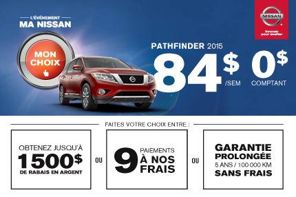Nissan Pathfinder 2015 en location: 84$ par semaine