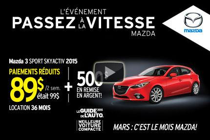 Le Mazda3 Sport SKYACTIV 2015 en location à 89$ aux 2 semaines
