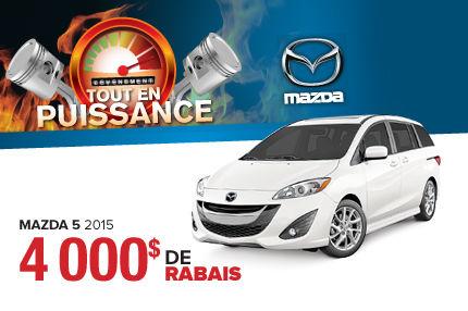 Achetez une Mazda 5 2015 et profitez du rabais de 4000$!