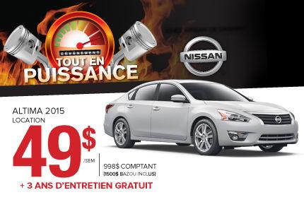 Nissan Altima S 2015 en location à 49$ par semaine