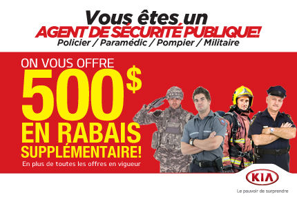 500$ de Rabais Supplémentaire aux Agents de la Paix