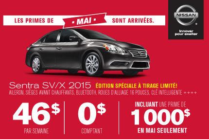 Louez aujourd'hui votre Sentra SV/X 2015 et obtenez une prime de 1000$