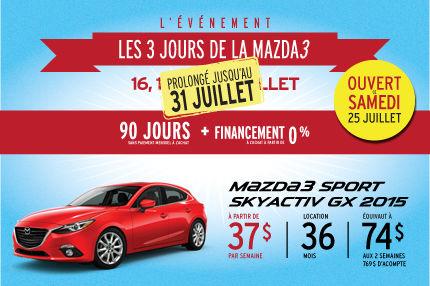 Les 3 jours de la Mazda 3 sport sont prolongés!!!