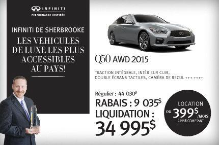 Q50 AWD 2015 en rabais de 9035$