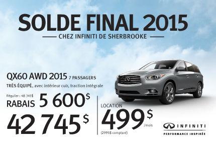 Solde Final 2015: QX60 AWD 2015 en rabais de 5600$