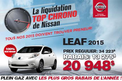 Liquidation TOP CHRONO chez NISSAN DE SHERBROOKE: Leaf 2015 à 20 948$