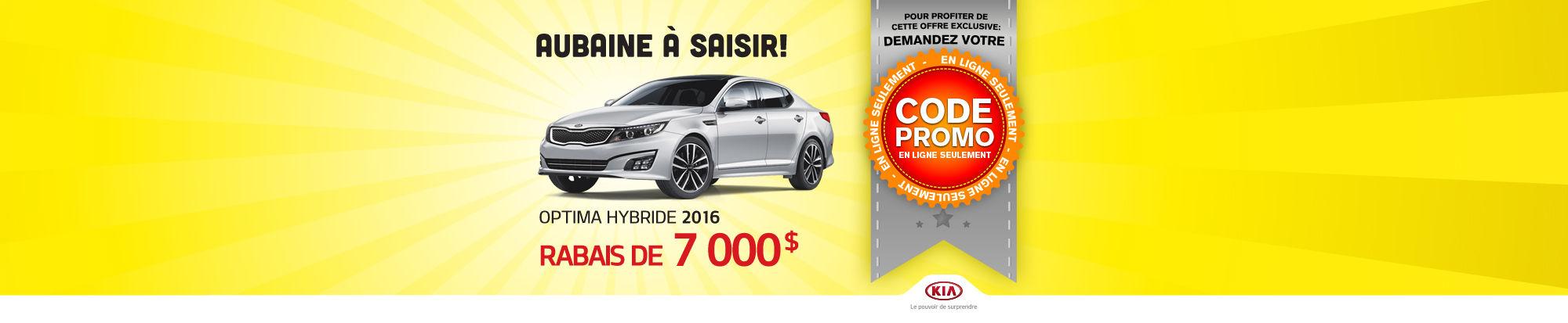 Code promo - Kia Optima Hybride 2015