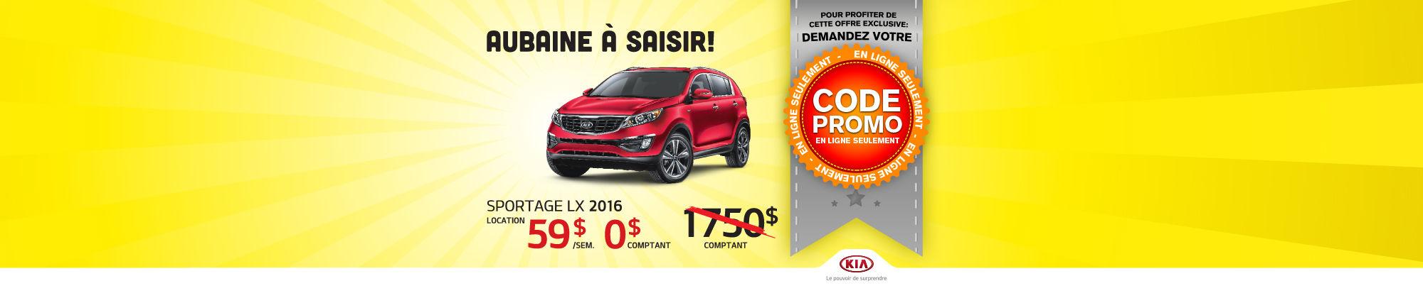 Code promo - Kia Sportage LX 2015