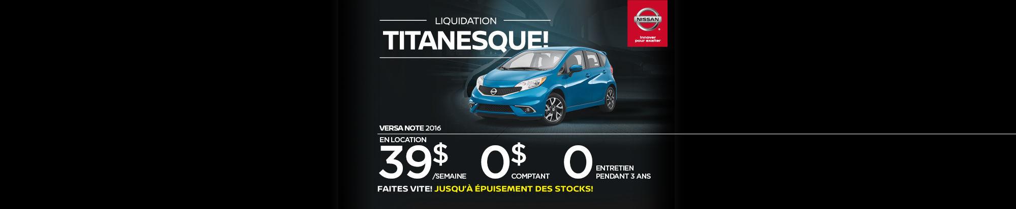 Liquidation titanesque - Versa Note
