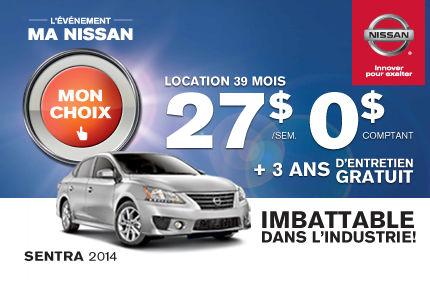 La Nissan Sentra 2014 à 27$ par semaine