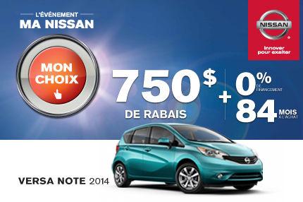 La Nissan Versa Note 2014 avec financement de 0%